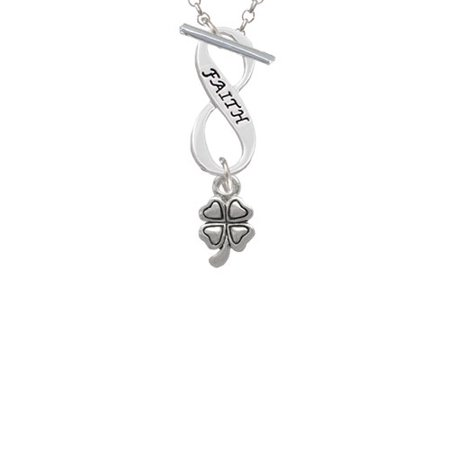 Mini Four Leaf Clover Faith Infinity Toggle Chain Necklace - Faith Necklace