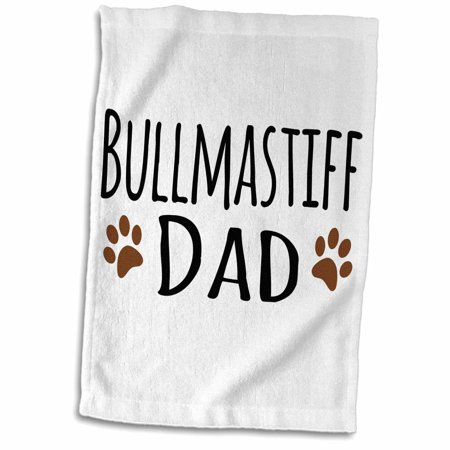3dRose Bullmastiff Dog Dad - Doggie by breed - brown muddy paw print love - doggy lover - proud pet owner - Towel, 15 by 22-inch