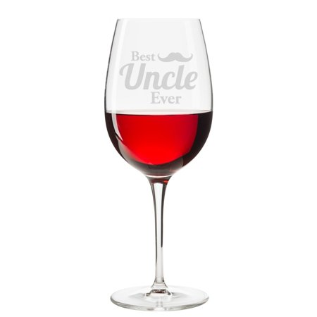 Best Uncle Ever Mustache Engraved 18 oz Wine