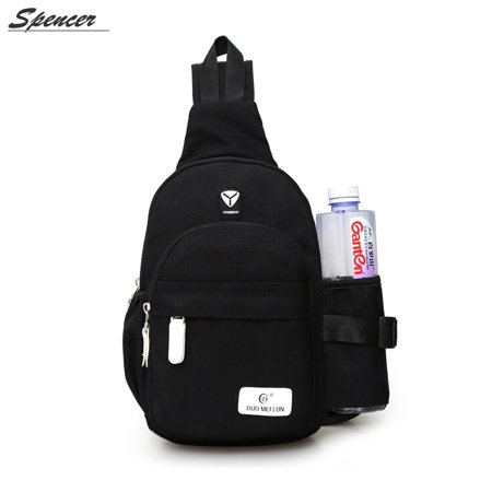 Spencer Nylon Chest Shoulder Messenger Bag Waterproof Unbalance Crossbody Sling Backpack for Men Women for Travel Hiking (7.1