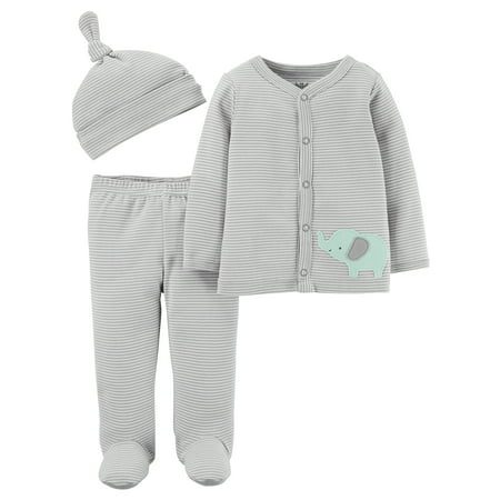 Child Of Mine By Carter's Long Sleeve Cardigan, Footed Pants & Cap, 3pc Outfit Set (Baby Boys or Baby Girls, Unisex) Carters Boy Girl Baby Pants