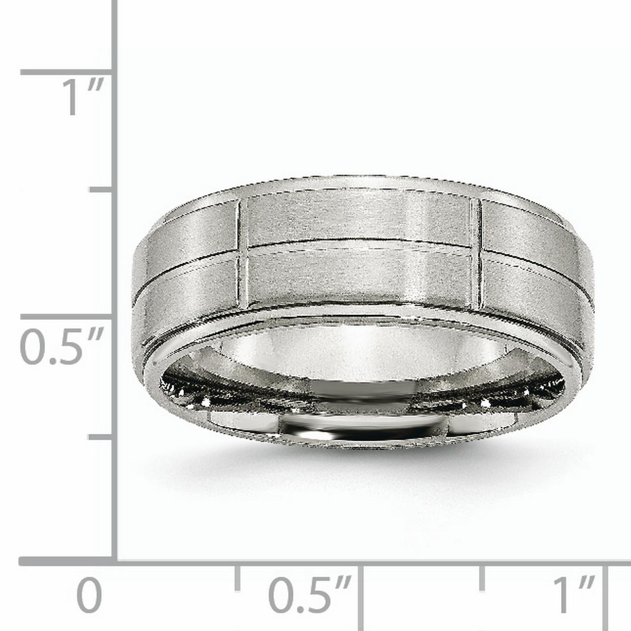Stainless Steel Grooved 8mm Brushed/ Ridged Edge Wedding Ring Band Size 8.50 Fashion Jewelry Gifts For Women For Her - image 8 de 10
