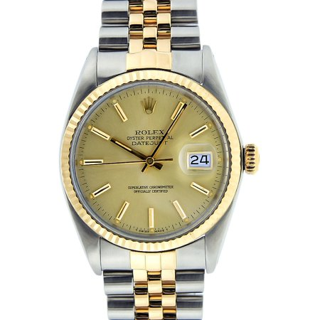 Pre-Owned Rolex Mens Datejust Steel & Yellow Gold Champagne Index Watch 16013 Jubilee
