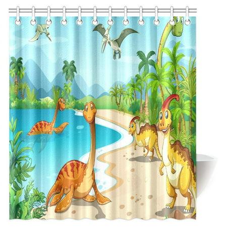 MYPOP Boys Teens Kids Animal Decor Shower Curtain, Cartoon Dinosaur Ancient Dino Animal Bathroom Decor