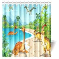 MYPOP Boys Teens Kids Animal Decor Shower Curtain, Cartoon Dinosaur Ancient Dino Animal Bathroom Decor Set with Hooks, 66 X 72 Inches