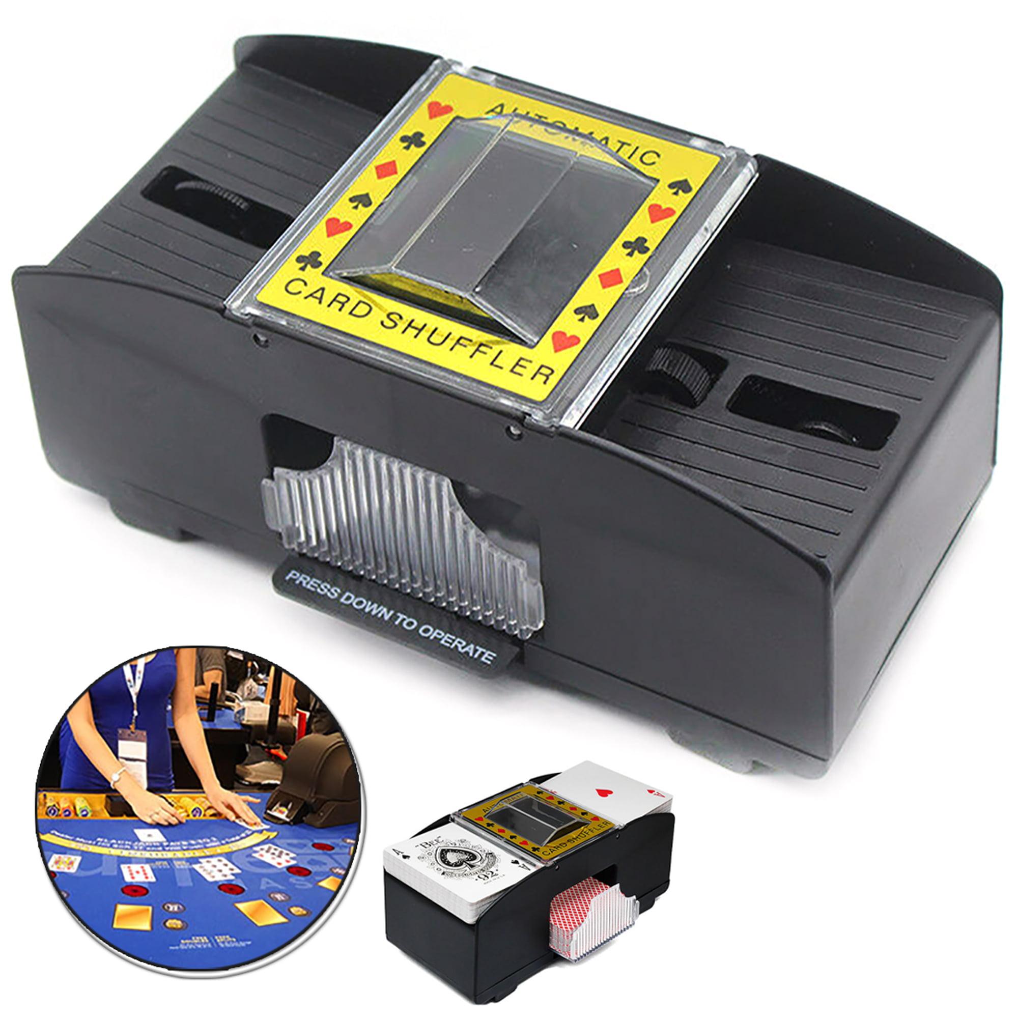 2 deck playing card shuffler automatic crank cut pack