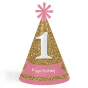 1st Birthday Girl - Fun to be One - Cone Happy First Birthday Party Hats for Kids and Adults - Set of 8 (Standard Size)
