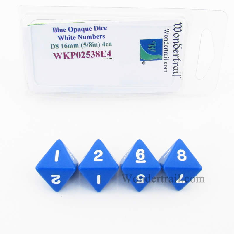 Blue Opaque Dice with White Numbers D8 16mm (5/8in) Pack of 4 Wondertrail
