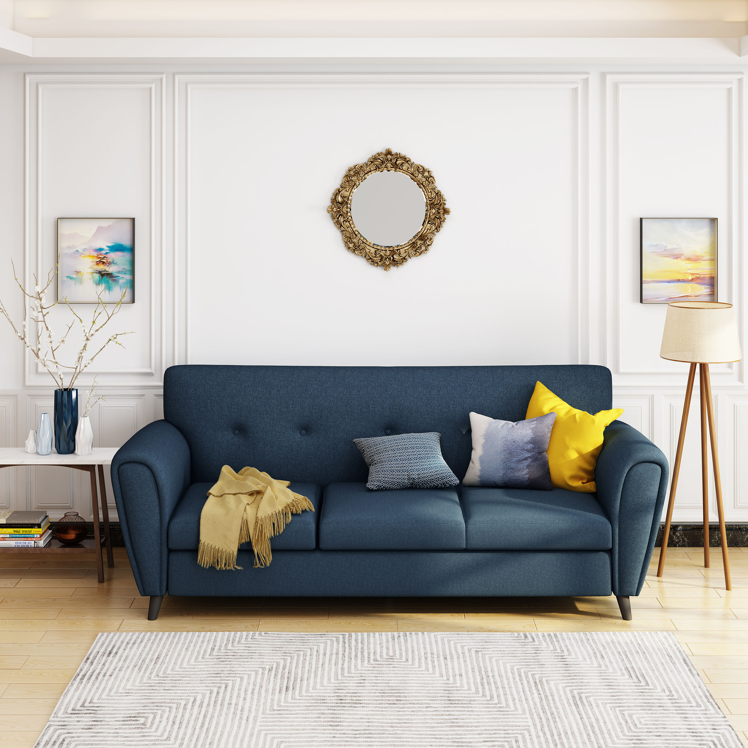 Noble House Kyree Traditional 3 Seat Buttoned Fabric Sofa, Navy Blue, Dark  Brown