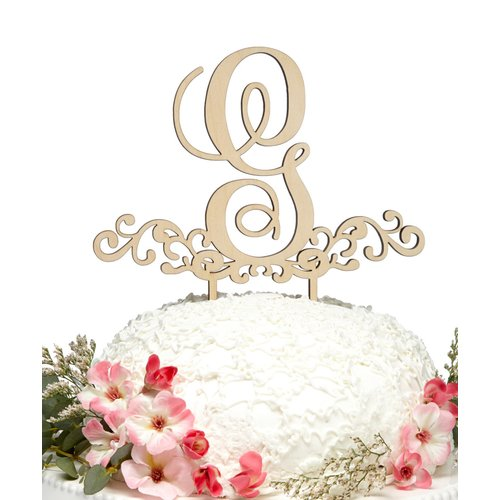aMonogram Art Unlimited Decorated Letter Wooden Cake Topper