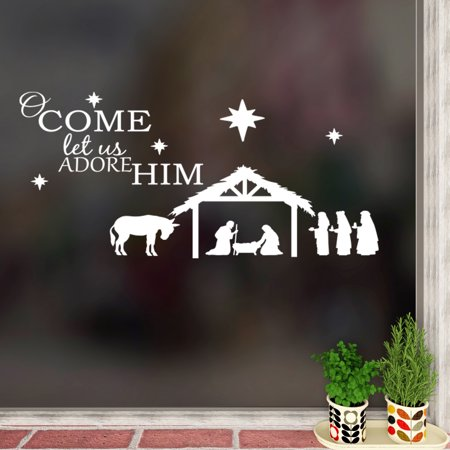 Wall Decal Quote O Come Let Us Adore Him Nativity Christmas Vinyl Sticker W2 ()