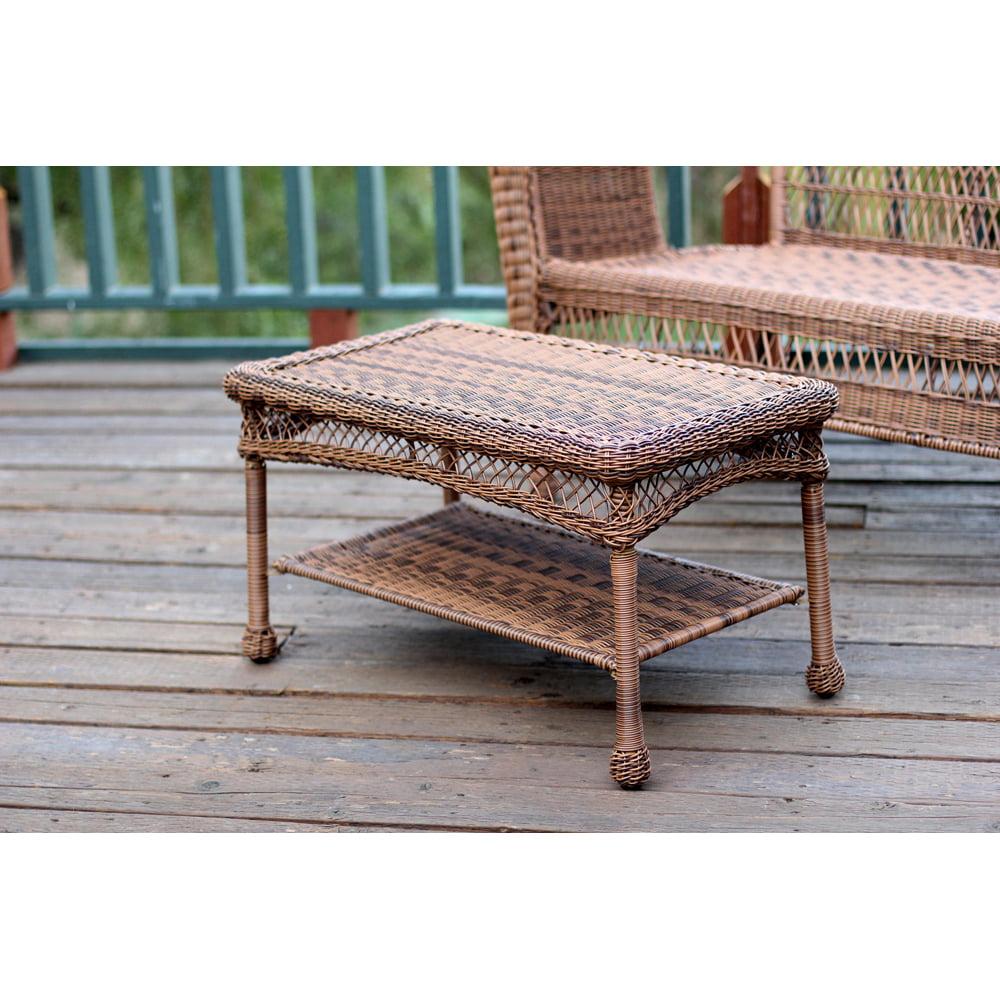 Jeco Honey Wicker Patio Furniture Coffee Table