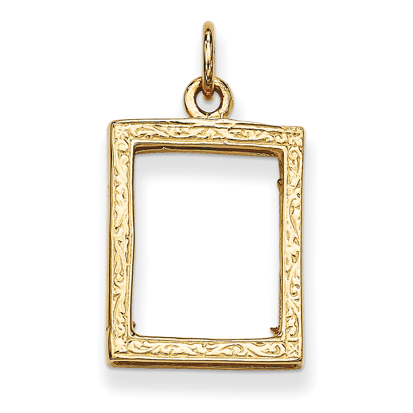 14k Yellow Gold Small Picture Frame Pendant Charm Necklace Locket Shaped Photo Fine Jewelry Gifts For Women For Her - image 2 of 2
