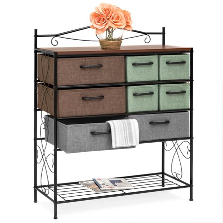 Best Choice Products 8-Drawer Wood and Metal Storage Cabinet Chest with Polyester Drawers,