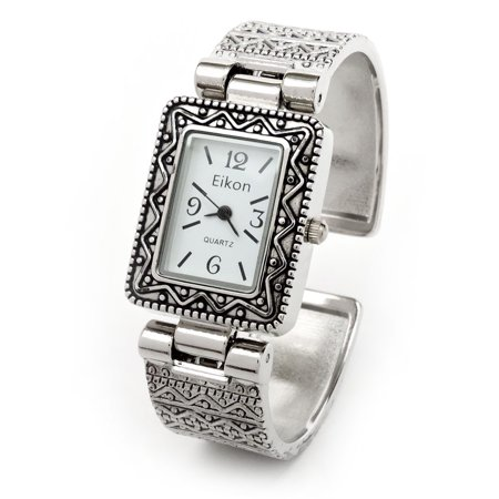 - Silver Metal Western Style Decorated Rectangle Face Women's Bangle Cuff Watch