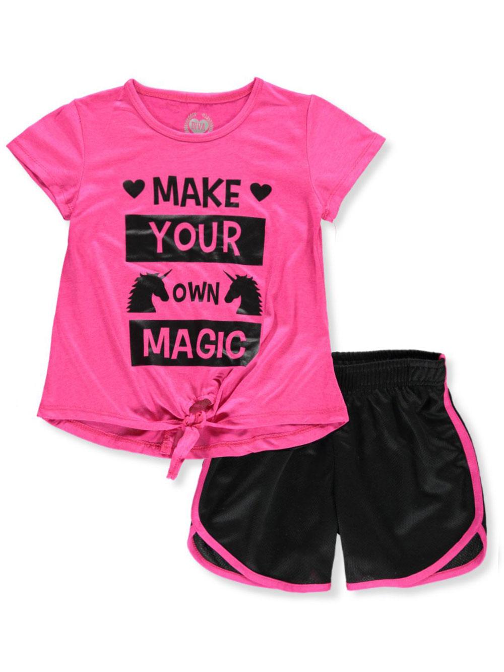 Pink One Step Up Big Girls Glitter Unicorn 3-Piece Shorts Set Outfit 10-12
