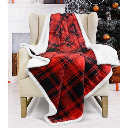 Catalonia Red Plaid Sherpa Throw Blanket,Reversible Super ...