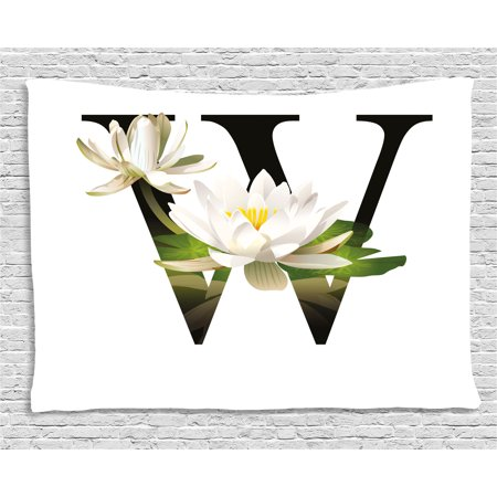 Letter W Tapestry, Water Lily Flower Arrangement Nature Inspired Alphabet Design Floral Print, Wall Hanging for Bedroom Living Room Dorm Decor, 60W X 40L Inches, White Green Black, by Ambesonne - Led Lights For Flower Arrangements