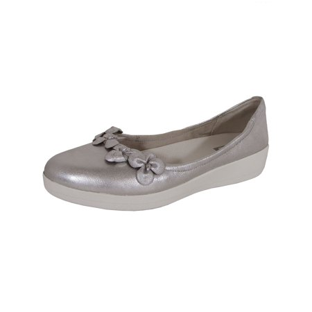 FitFlop Womens Superballerina With Flowers Ballet Flat Shoes, Silver, US 10