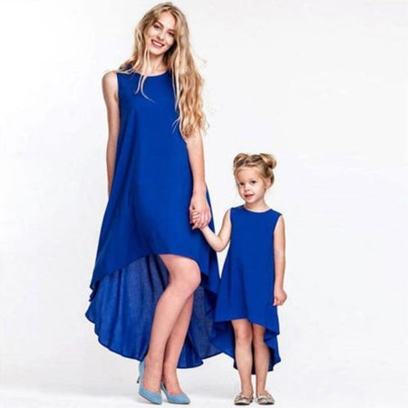 Fashion Matching Mother Daughter Clothes Dress Family Look Gown Casual Summer