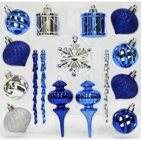 holiday time christmas ornaments blue silver mini shatterproof set of 36