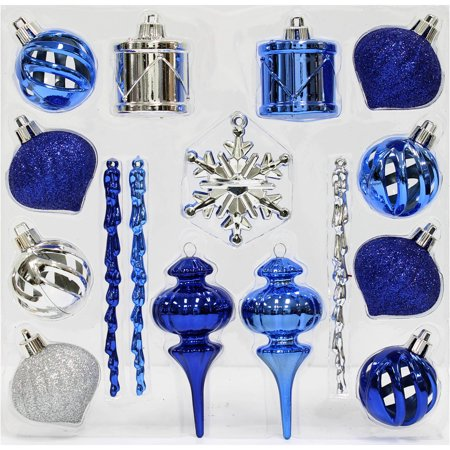 holiday time christmas ornaments blue silver mini shatterproof set of 36 - Blue And Silver Christmas Decorations