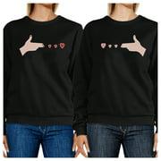 Gun Hands With Hearts Cute Best Friend Matching Sweatshirts For Her