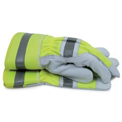 Hi-Visibility Goat Leather Work Gloves Large Multi-Colored
