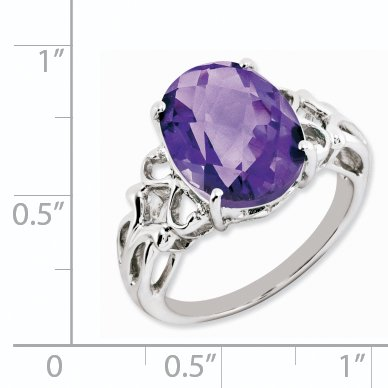 925 Sterling Silver Oval Checker Cut Purple Amethyst Band Ring Size 7.00 Gemstone Fine Jewelry Gifts For Women For Her - image 1 de 6