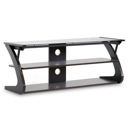 Wholesale Interiors Sculpten Dark Brown Modern TV Stand with Glass Shelves for TVs up to 45