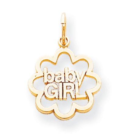 (10K Yellow Gold Baby Girl Charm Pendant - 22mm)