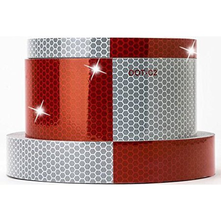 2x164Inch Trailer Conspicuity DOT-C2 Reflective Red/White Tape Safety Warning Tape Trucks/Trailers/Car Tape Sticker,Waterproof self-adhesive Car Caution Warning Sticker for $<!---->