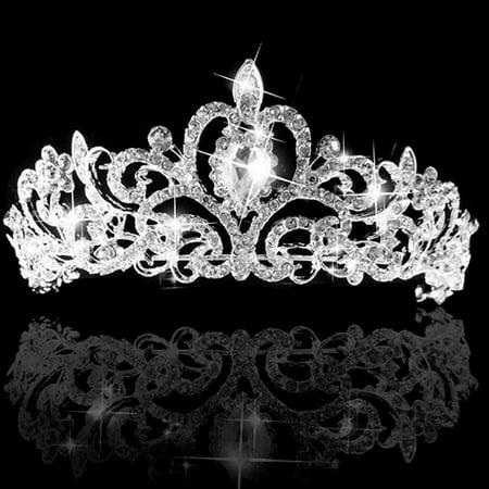 Girl12Queen Women's Wedding Bridal Princess Rhinestone Prom Hair Tiara Crown Veil Headband (Headband Crowns)