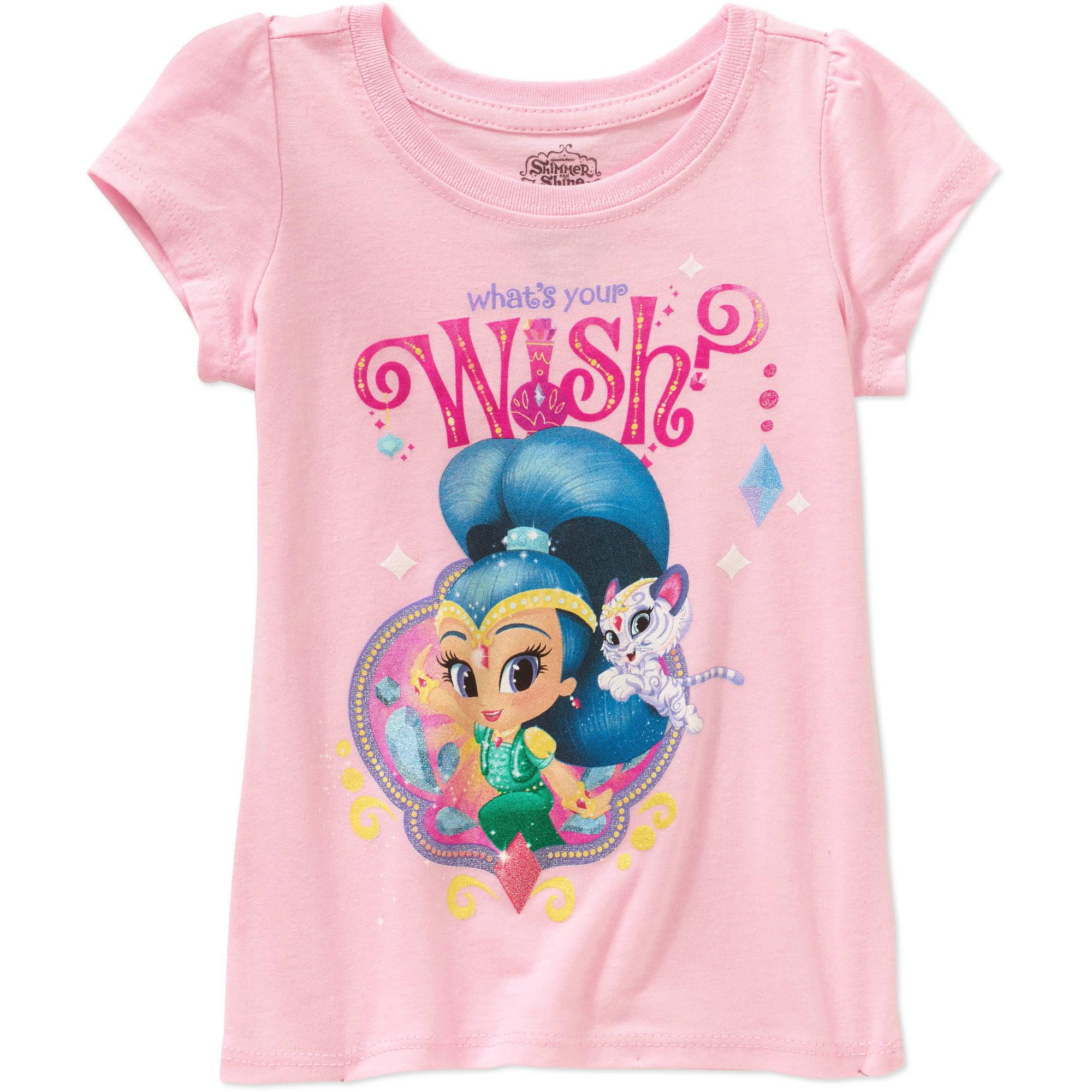 "Nickelodeon Shimmer & Shine ""What's Your Wish?"" Toddler Girls' Short Sleeve Graphic Tee"