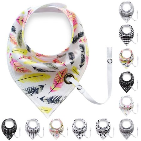 - Heepo Baby Infant Toddler Soft Triangle Bandana Bib Saliva Towel with Pacifier Clip