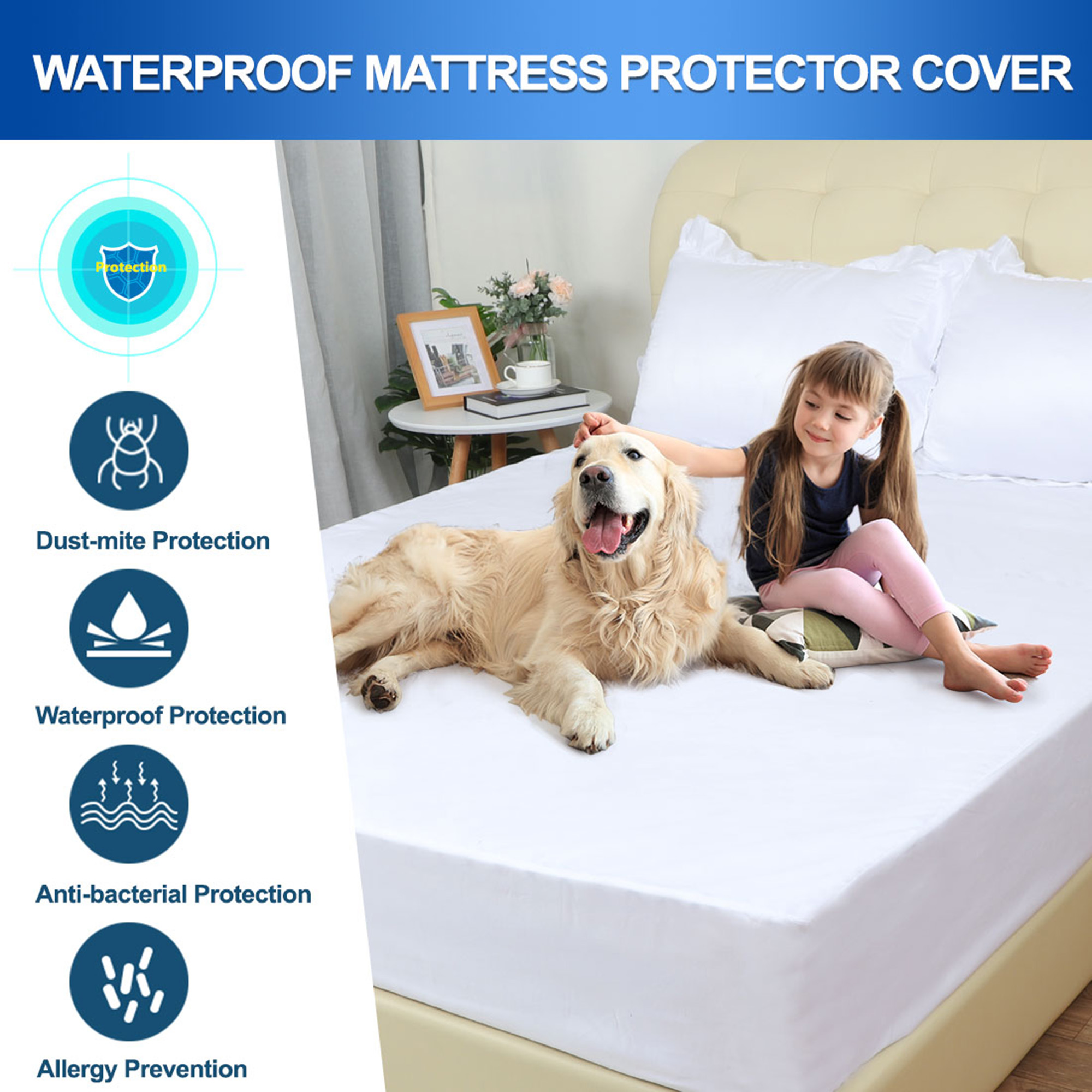 Water Resistant Bed Mattress Protector Sheet Cover Topper Wet Spill Damp Proof