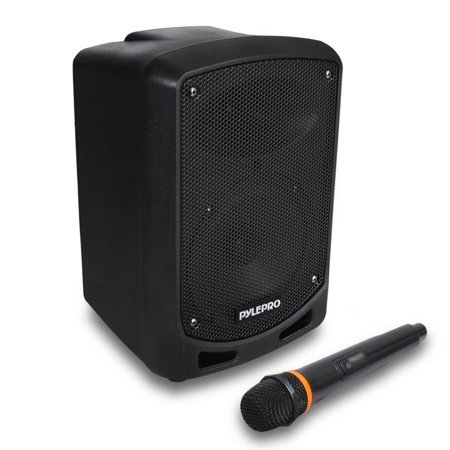 Pyle BT Karaoke PA Speaker - Indoor / Outdoor Portable Sound System with Wireless Mic, Audio Recording, battery, USB / SD Reader, Stand Mount - For Party, Crowd Control ()