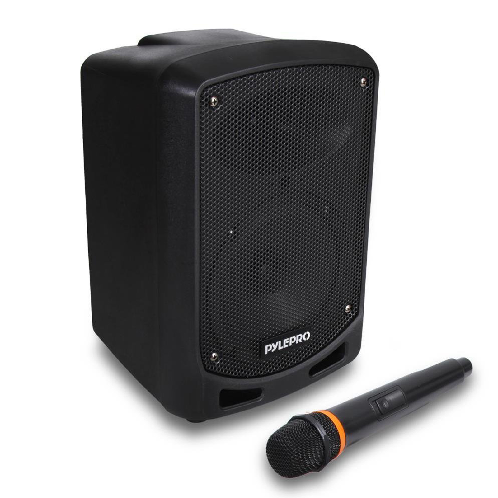 Pyle BT Karaoke PA Speaker - Indoor / Outdoor Portable Sound System with Wireless Mic, Audio Recording, re-chrg battery, USB / SD Reader, Stand Mount - For Party, Crowd Control