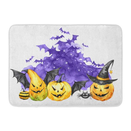 SIDONKU Watercolor Scary Night Flock of Bats and Holidays Pumpkins Halloween Magic Symbol Horror Vampires Can Be Doormat Floor Rug Bath Mat 23.6x15.7 inch (Inside The Magic Halloween Horror Nights)