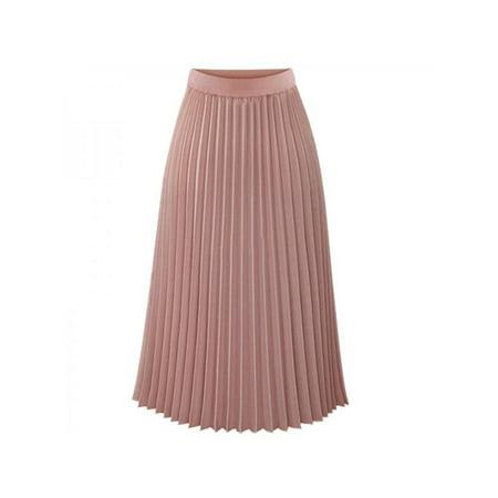 Ropalia Women Chiffon Pleated Long Skirt Elastic Dress