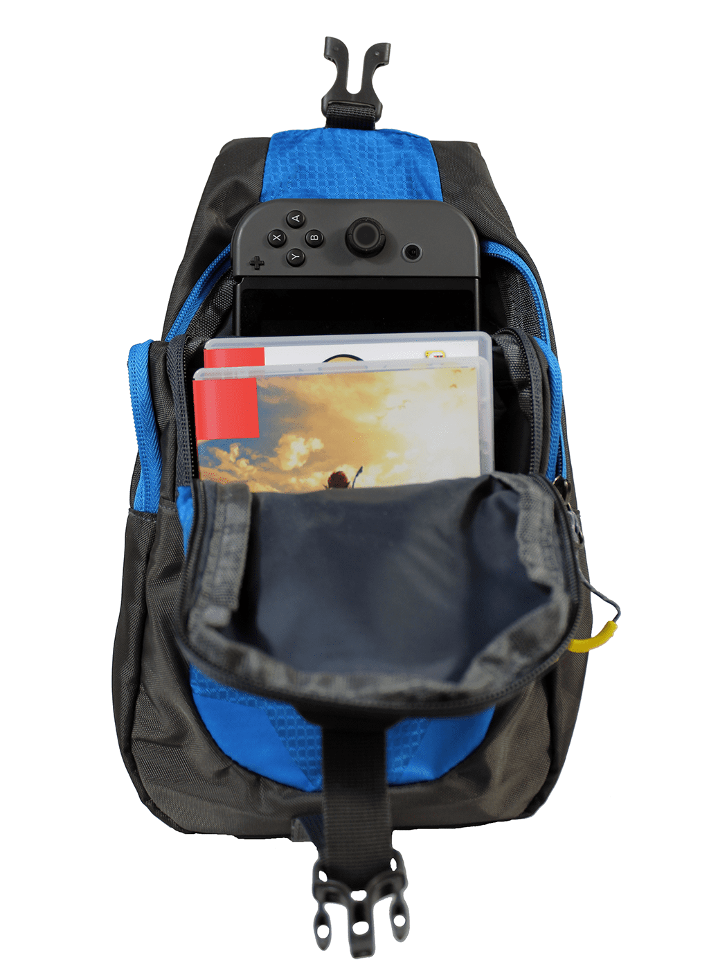 HDE Nintendo Switch Backpack Gamer Elite Crossbody Travel Bag Holds Console Games Joy-Cons and More (Blue) by HDE