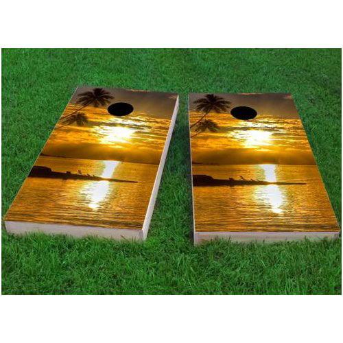 Custom Cornhole Boards Sea Sunset Cornhole Game (Set of 2) by Custom Cornhole Boards