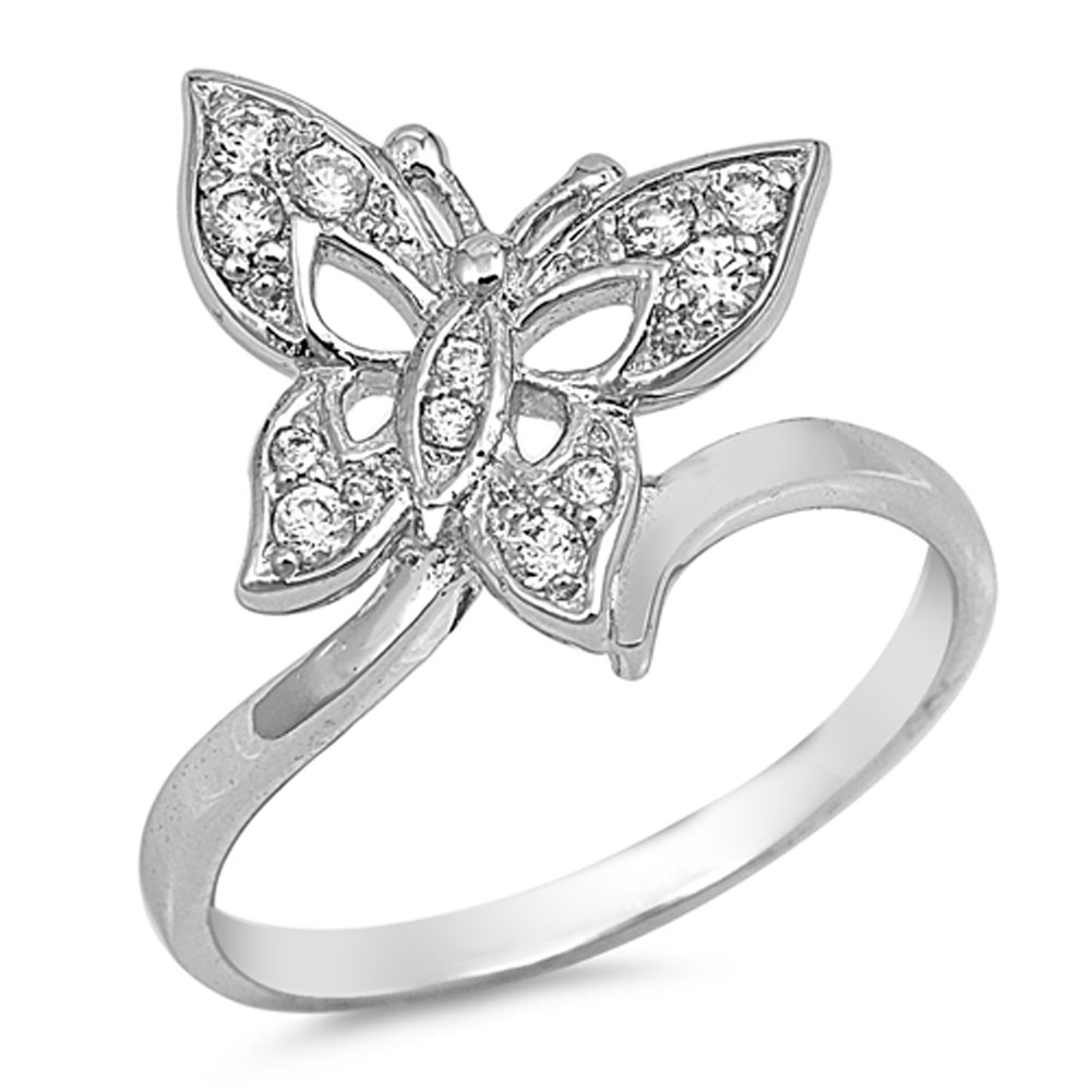 white cz beautiful butterfly ring sizes 5 6 7 8 9 new