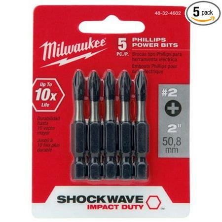 48-32-4602 Shockwave 2-Inch #2 Phillips Power Bit, 5-Pack, Milwaukee 48-32-4602 Shockwave no.2 Phillips 2-Inch power bit By Milwaukee Lisle Phillips Bit