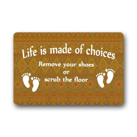 WinHome Please Remove Your Shoes Signs Doormat Floor Mats Rugs Outdoors/Indoor Doormat Size 30x18