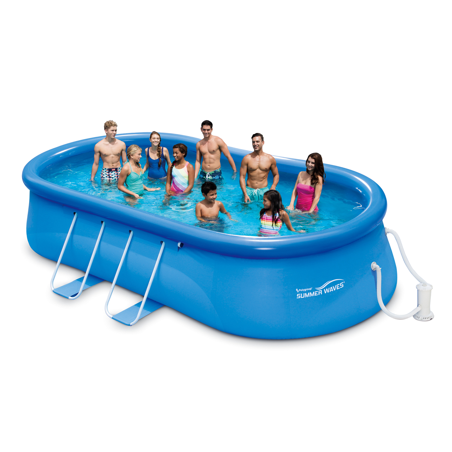 "Summer Waves 18' x 10' 42"" Quick Set Oval Frame Above Ground Swimming Pool with Filter Pump System And Deluxe Accessory Set"