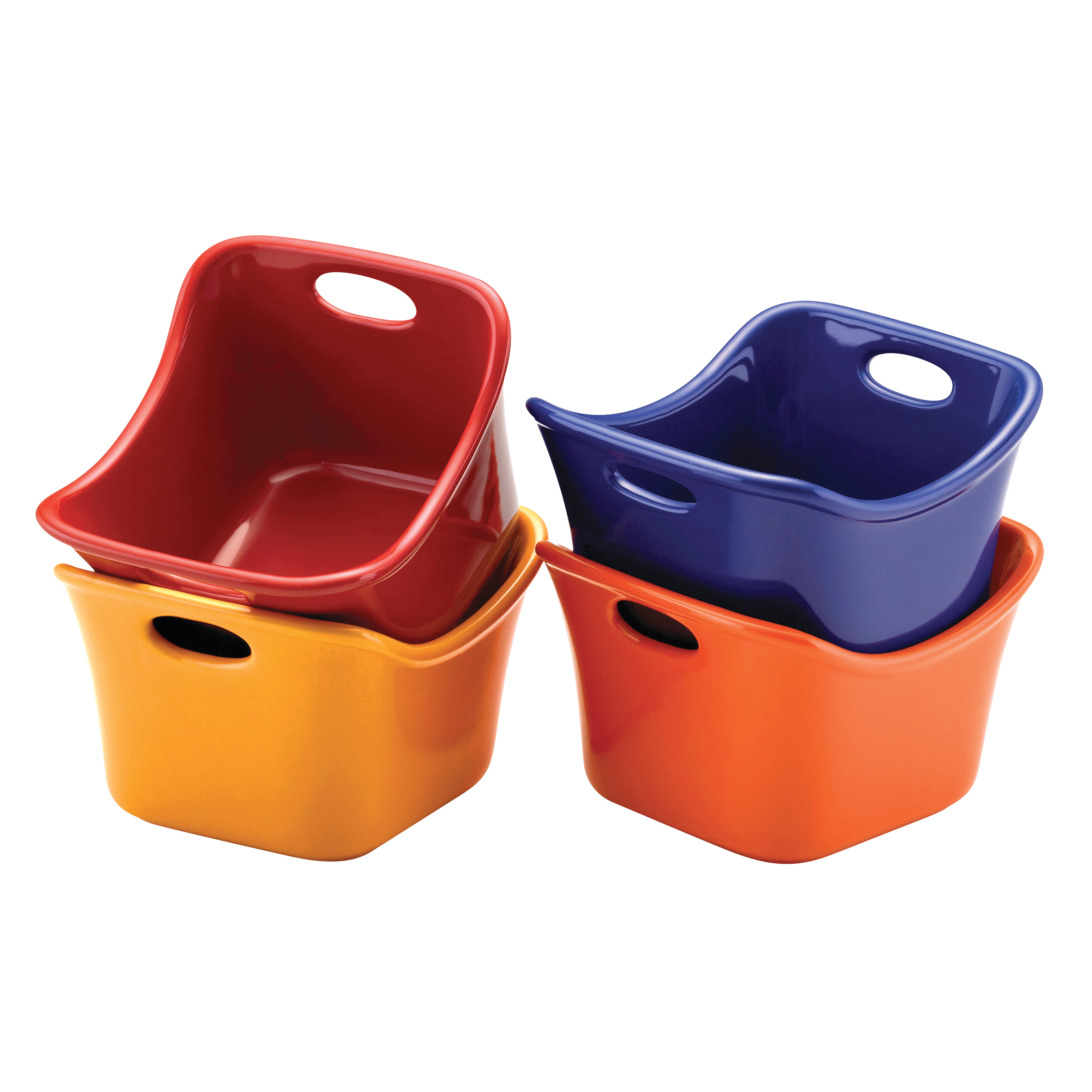 Rachael Ray Stoneware 4-Piece Square Ramekin Set, Assorted