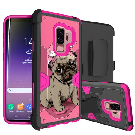 MAX DEFENSE Case for Galaxy S9 Plus w/ Hybrid Protection [Galaxy S9 Plus PINK SERIES Phone Case by MINITURTLE] Includes Built-In Kickstand & Bonus Belt Clip Combo for Galaxy S9 Plus - Bandana Pug (Built Hoodie Case)