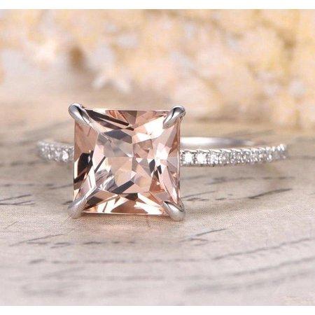 Morganite White Ring - 1.25 carat Morganite and Diamond Halo Engagement Ring in 10k White Gold for Women