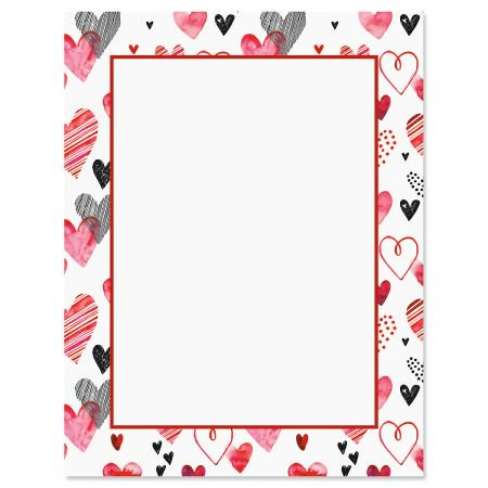 Loads of Love Letter Papers - Set of 25 Valentine'stationery papers are 8 1/2